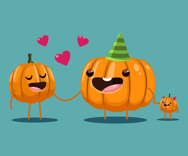 Cute family pumpkin character. cartoon halloween illustration isolated. Premium Vector