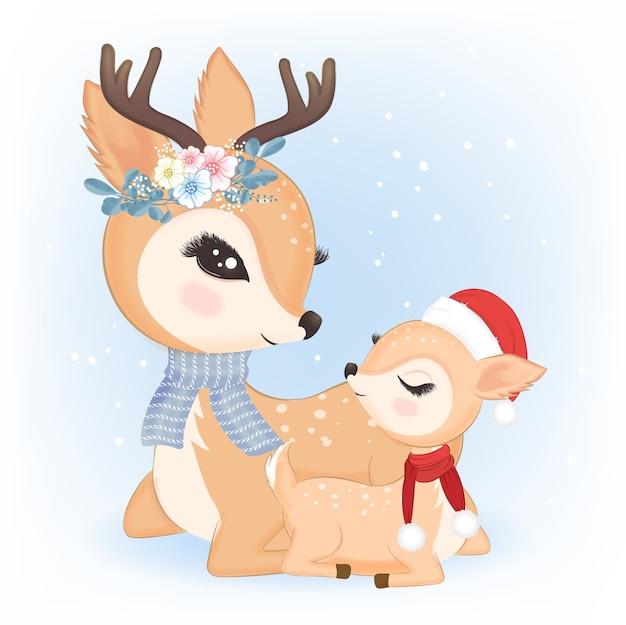 Cute family's deer with santa hat Premium Vector