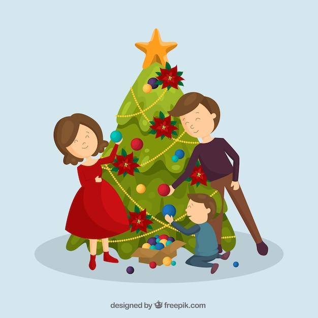 크리스마스 트리와 함께 귀여운 가족 장면 무료 벡터