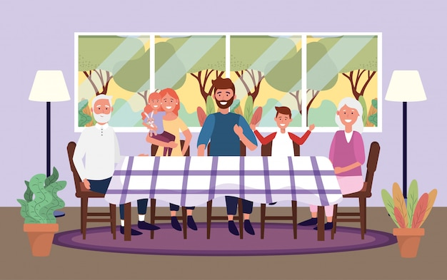 Cute family together in the table with window Free Vector