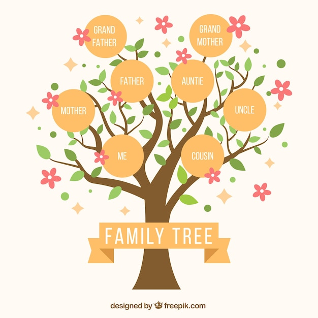 Cute family tree with decorative pink flowers Free Vector