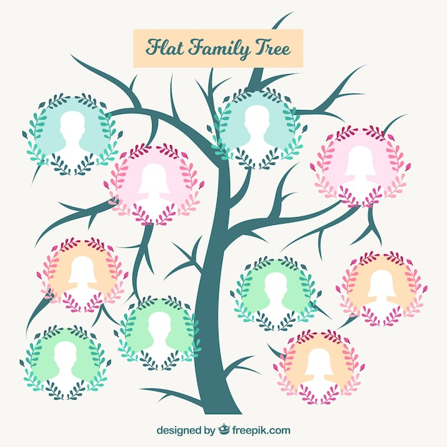 Cute family tree with floral wreath Free Vector