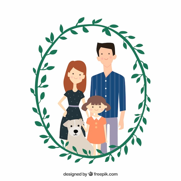 Cute family with decorative floral\ wreath