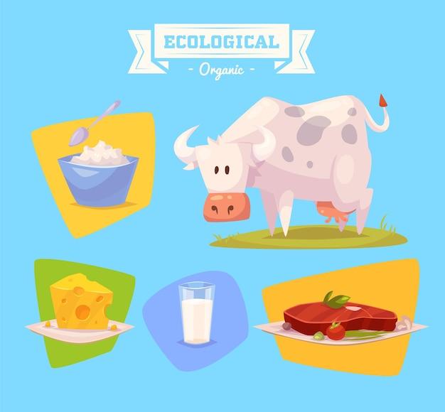 かわいい家畜牛。色付きの背景に設定された孤立した家畜のイラスト。フラットベクトルイラスト。株式ベクトル。 Premiumベクター