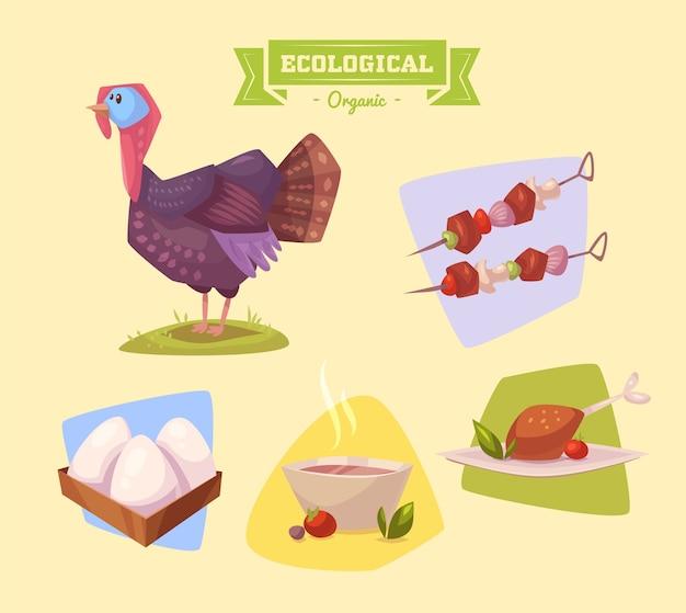 かわいい家畜の七面鳥。色付きの背景に設定された孤立した家畜のイラスト。フラットベクトルイラスト。株式ベクトル。 Premiumベクター