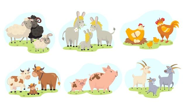 귀여운 농장 동물 가족 평면 그림을 설정합니다. 만화 국내 염소, 양, 닭, 소, 돼지, 당나귀 절연 벡터 일러스트 컬렉션. 어린이 및 유아 개념에 대한 교육 활동 무료 벡터