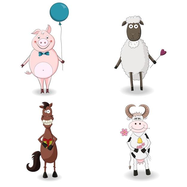 Cute farm animals set Premium Vector