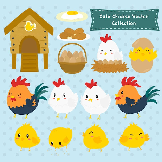 Cute farm chicken vector collection Premium Vector