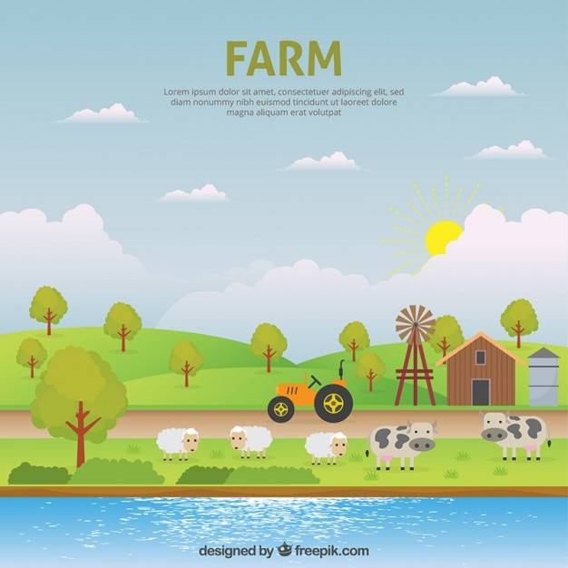 Cute farm landsape with animals Free Vector