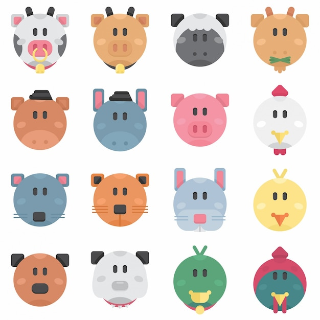 Cute farm pets circle flat avatar Premium Vector