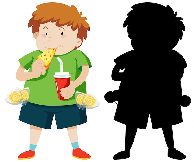 Cute fat boy eating pizza in colour and silhouette Free Vector