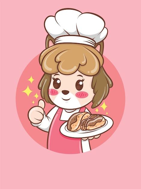 Милая женщина собака шеф-повар держит торт. концепция шеф-повара пекарни. мультипликационный персонаж и талисман иллюстрации. Premium векторы