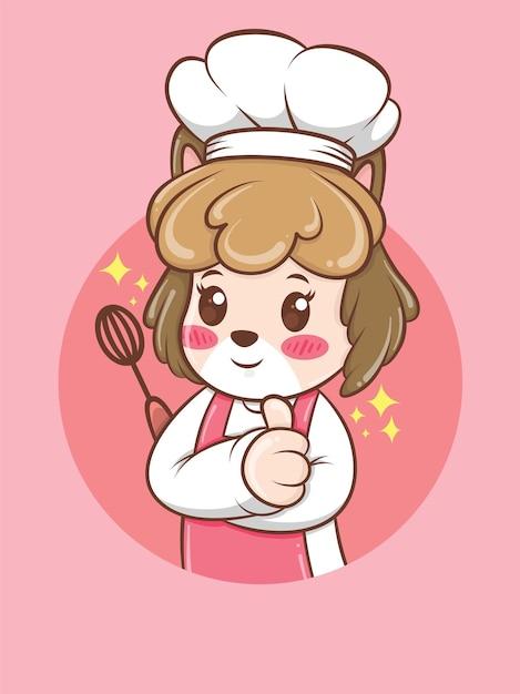 Милая женщина собака шеф-повар держит ручной миксер. концепция шеф-повара пекарни. мультипликационный персонаж и талисман иллюстрации. Premium векторы