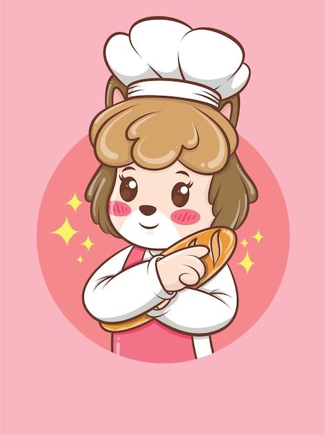 Милая женщина собака шеф-повар обнимает хлеб. концепция шеф-повара пекарни. мультипликационный персонаж и талисман иллюстрации. Premium векторы