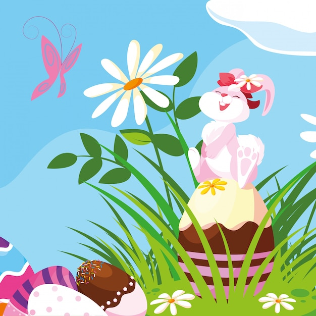 Cute female rabbit with eggs of easter in garden Premium Vector