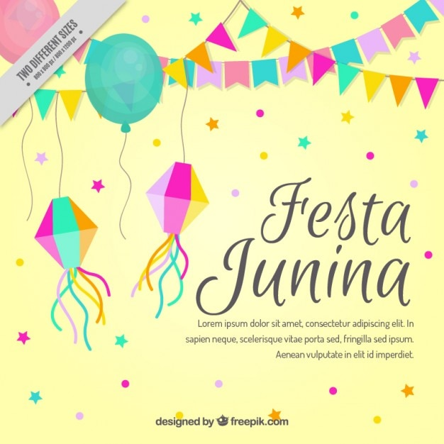 Cute festa junina background with decorative elements Free Vector