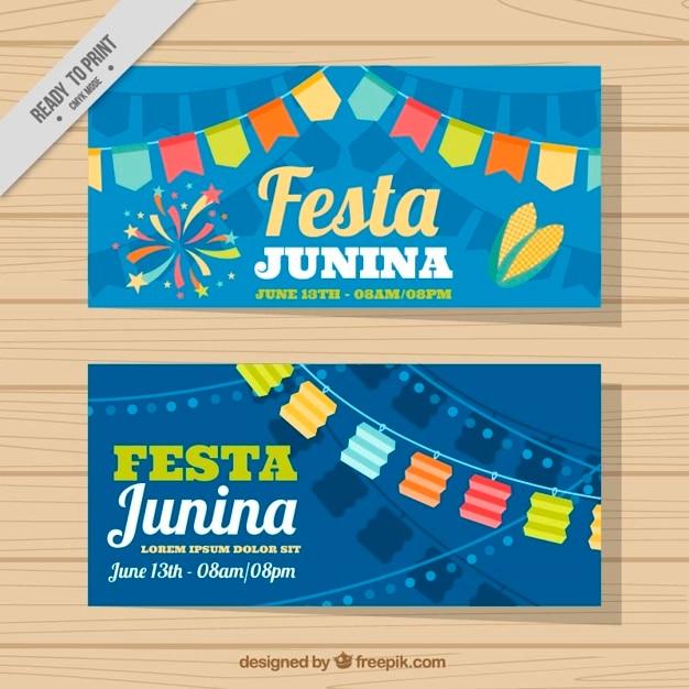 Cute festa junina banners with garlands Free Vector