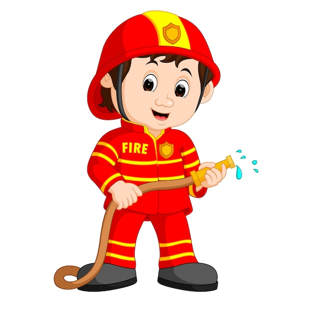 Cute fireman cartoon Premium Vector