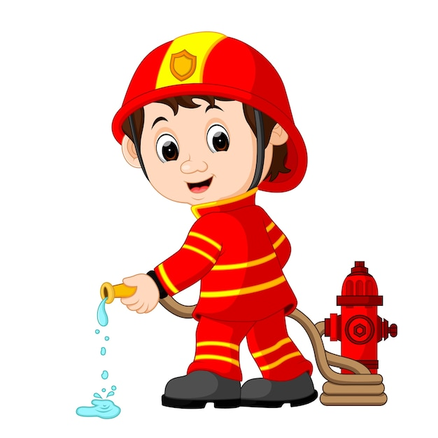 Cute fireman cartoon Premium Vector
