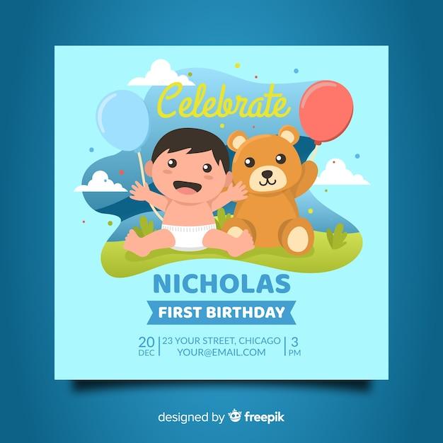 Cute first birthday card design Free Vector