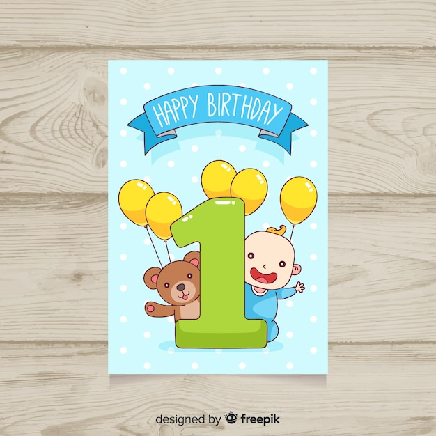 Cute first birthday card template Free Vector
