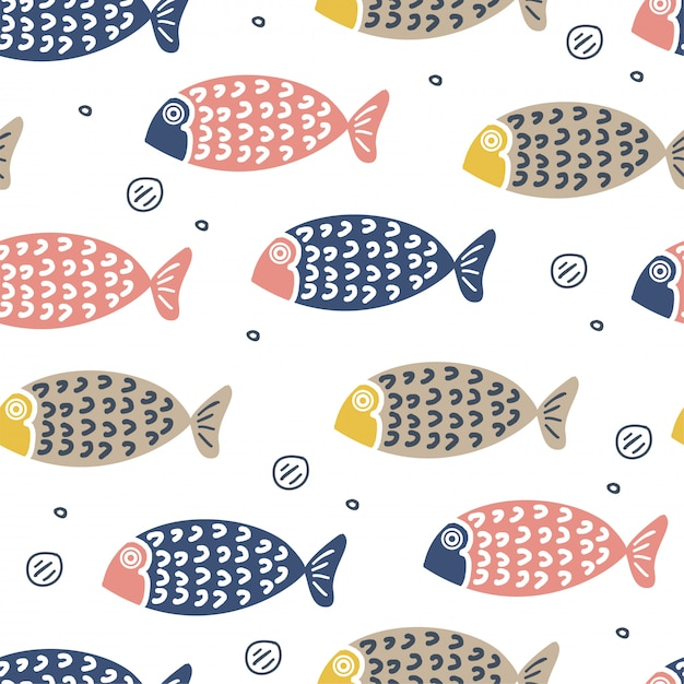 Cute fish hand drawn scandinavian style for kids and baby fashion Premium Vector