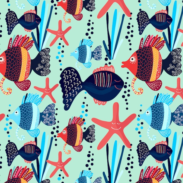 cute fish pattern vector free download