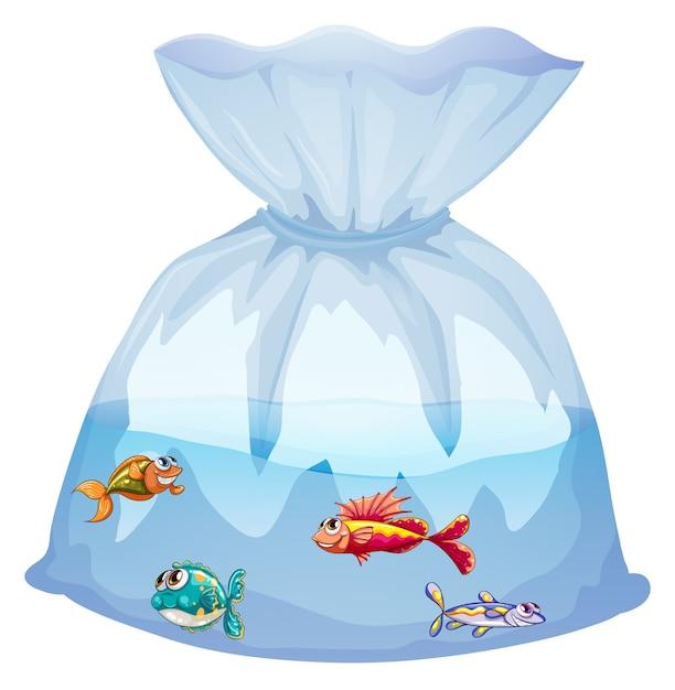 分離されたビニール袋の漫画のかわいい魚 無料ベクター