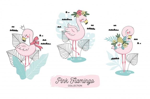 Cute flamingo baby and scarf, blossom, pineapple, crown elements. Premium Vector