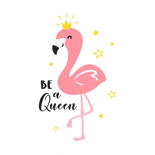 Cute flamingo queen illustration Premium Vector