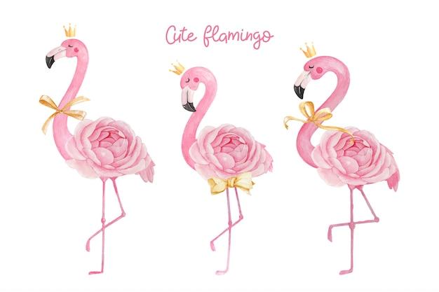 Симпатичные фламинго с короной, лентой и лютиком розы. Premium векторы