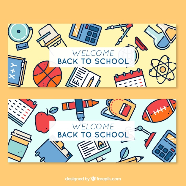 Cute flat banners for back to school