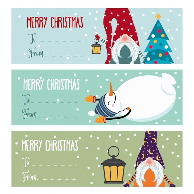 Cute flat  christmas labels collection with snowmen and gnomes isolated Premium Vector