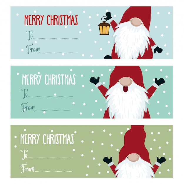 Cute flat design christmas labels collection with gnomes Premium Vector