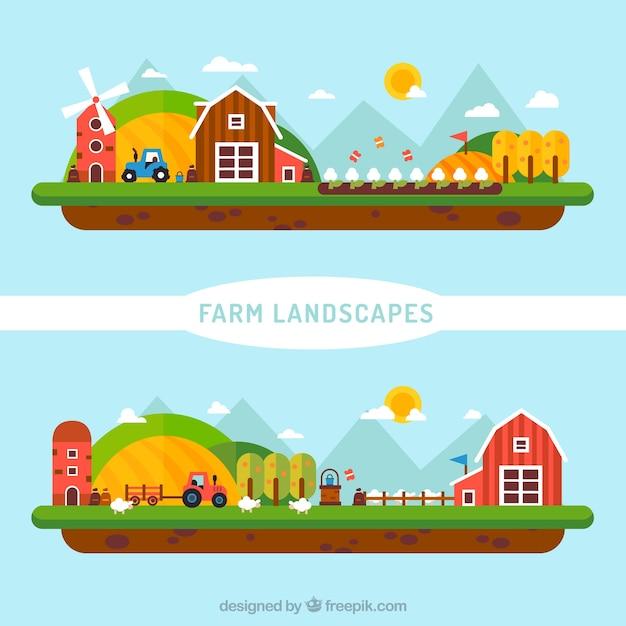 Cute flat farm landscape Free Vector