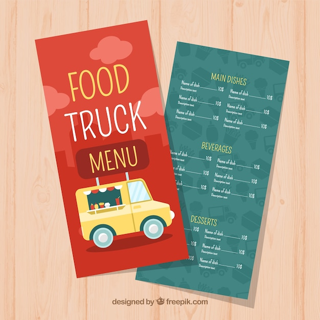 Cute flat food truck menu