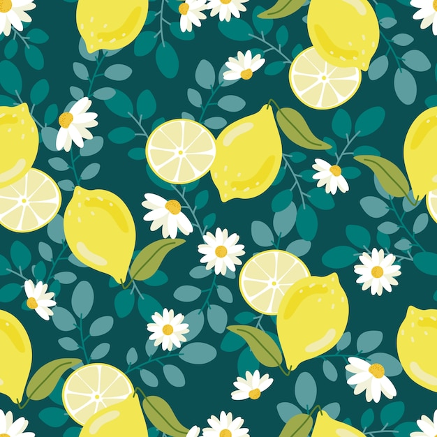 Cute flat style yellow lemon with white flower oseamless pattern Premium Vector