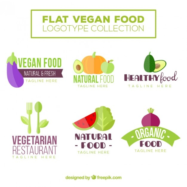 Cute flat vegan food logos