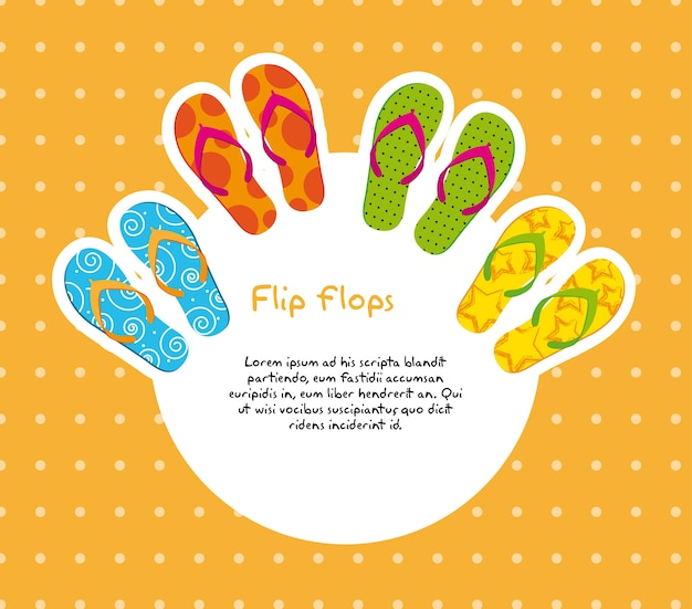 Cute flip flops with space for copy Premium Vector