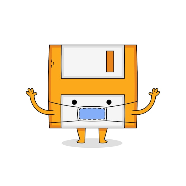 Симпатичный мультипликационный персонаж дискеты в маске Premium векторы