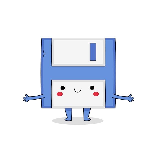 Милый мультипликационный персонаж дискеты Premium векторы