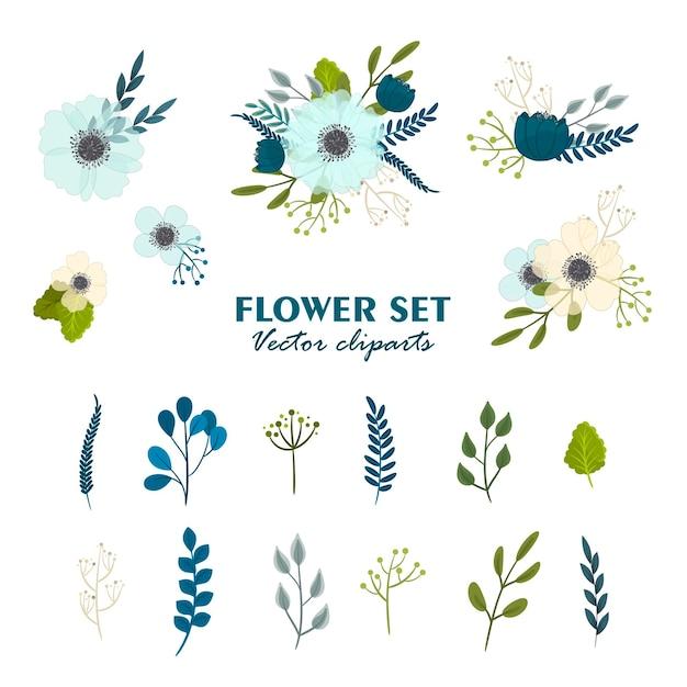 かわいい花の花束、クリップアートの花のセット 無料ベクター