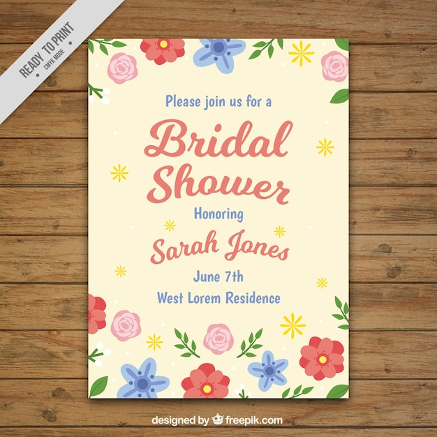 Cute Floral Bridal Shower Invitation Template Vector  Free Download