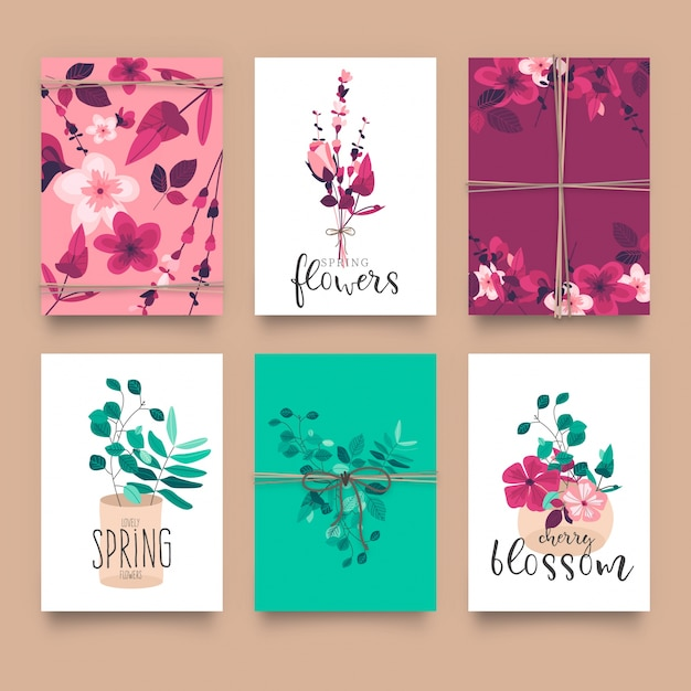 cute floral card templates vector free download