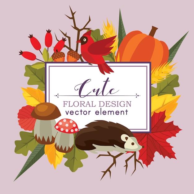 Cute floral design vector autumn flat style nature background Premium Vector