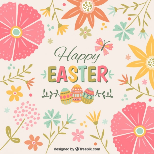cute floral easter background vector free download