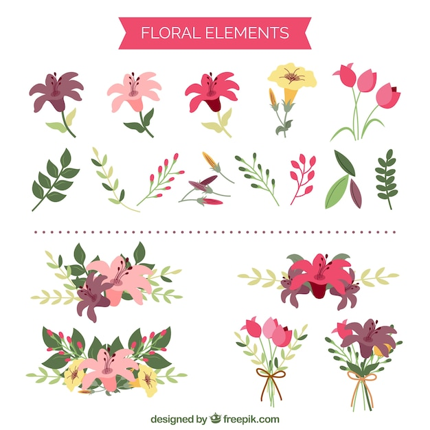 Cute floral elements  Premium Vector