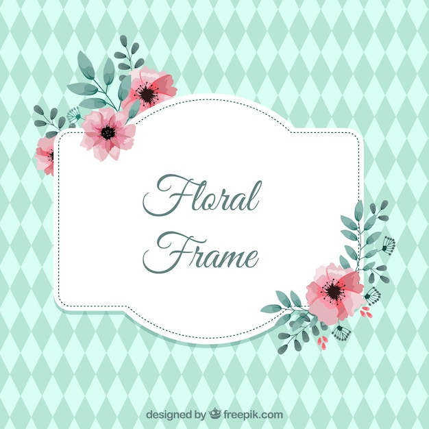 Cute floral frame with pink flowers