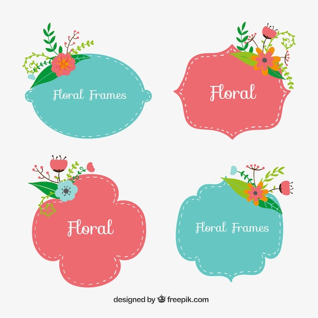 cute floral frames vector free download