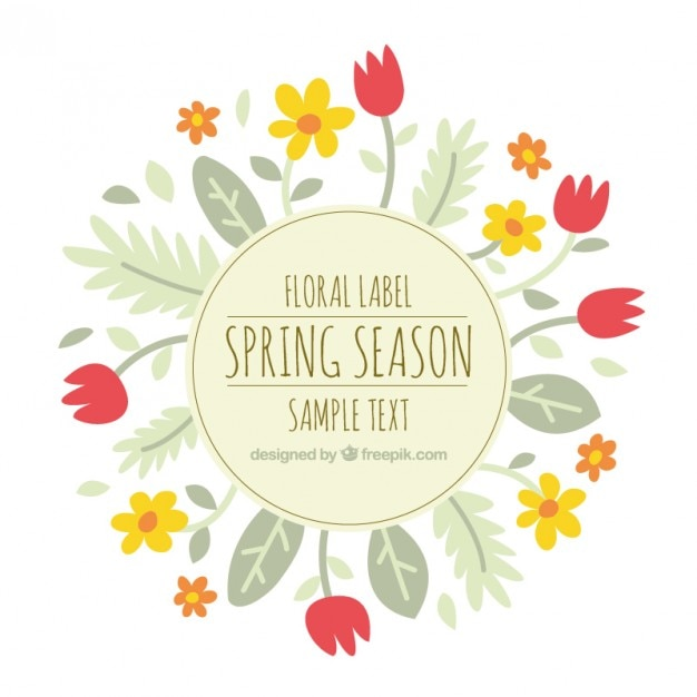 Cute floral label with tulips and leaves